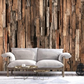 Fotomural autoadhesivo - Wooden Curtain (Brown)