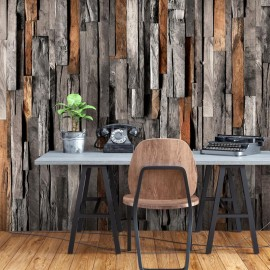 Papel de parede autocolante - Wooden Curtain (Grey and Brown)