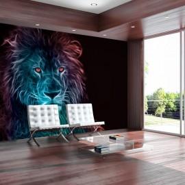 Papel de parede autocolante - Abstract lion - rainbow