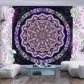 Papel de parede autocolante - Round Stained Glass (Violet)