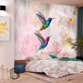Fotomural autoadhesivo - Colourful Hummingbirds (Pink)