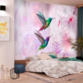 Fotomural autoadhesivo - Colourful Hummingbirds (Purple)