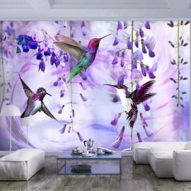 Fotomural autoadhesivo - Flying Hummingbirds (Violet)