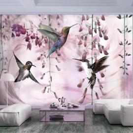 Fotomural autoadhesivo - Flying Hummingbirds (Pink)