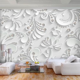 Papel de parede autocolante - Flowers with Crystals