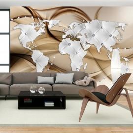 Fotomural - World Map - White & Diamonds