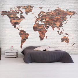 Fotomural - World Map: Brick Wall