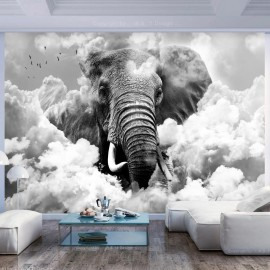 Fotomural - Elephant in the Clouds (Black and White)