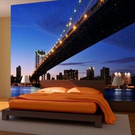 Fotomural - Ponte de Manhattan iluminada à noite