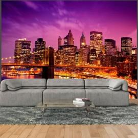 Fotomural - Manhattan e Brooklyn Bridge por noite