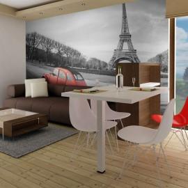 Fotomural - Torre Eiffel y un coche rojo