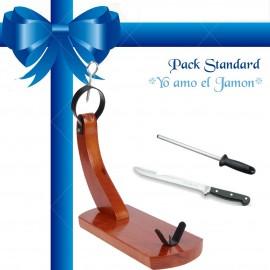 """Pack Regalo Kit """"Yo Amo el Jamón"""" Jamonero y accesorios corte de jamón"""