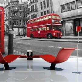 Fotomural - Londres: un autobús rojo y una cabina telefónica