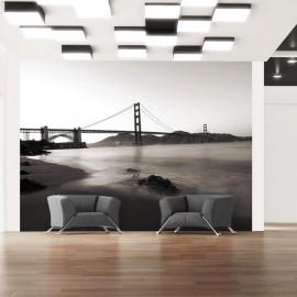 Fotomural - San Francisco: puente Golden Gate en blanco y negro