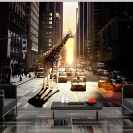 Fotomural - Girafa na cidade grande