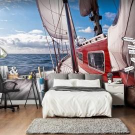 Fotomural - Un barco en mitad del mar