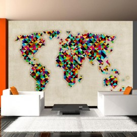 Fotomural - World Map - a kaleidoscope of colors