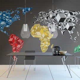 Fotomural - Map of the World - colorful solids