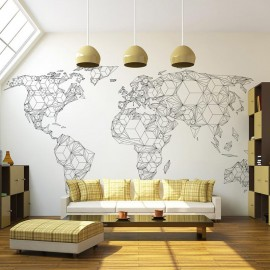 Fotomural - Map of the World - white solids