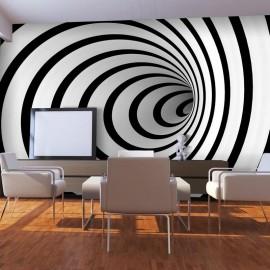 Fotomural - Un túnel 3D en blanco y negro