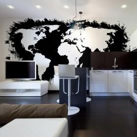 Fotomural - Branco continentes, oceanos negros ...
