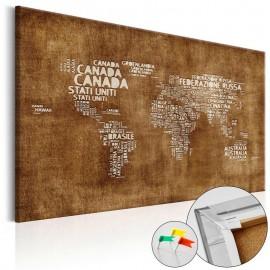 Quadro de cortiça - The Lost Map [Cork Map - Italian Text]