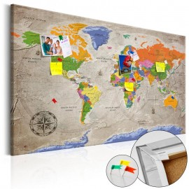 Quadro de cortiça - World Map: Retro Style [Cork Map]