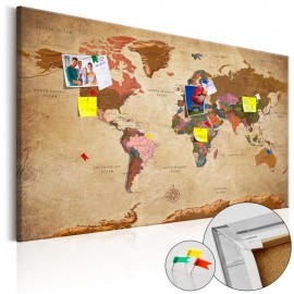 Tablero de corcho - World Map: Brown Elegance [Cork Map]