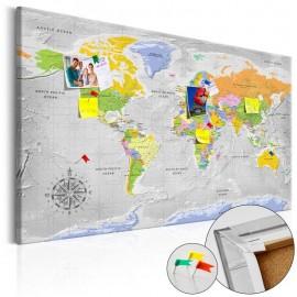 Quadro de cortiça - World Map: Wind Rose [Cork Map]