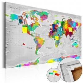 Quadro de cortiça - Maps: Colourful Finesse [Cork Map]