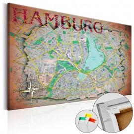 Quadro de cortiça - Hamburg [Cork Map]
