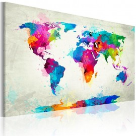 Cuadro - Map of the world - an explosion of colors