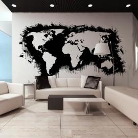 Fotomural XXL - Branco continentes, oceanos negros ...