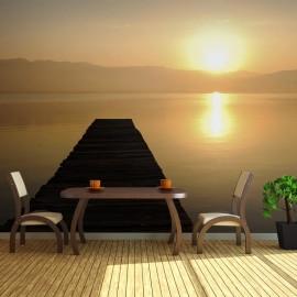 Fotomural XXL - puente, lago, puesta del sol...