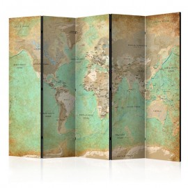Biombo - Turquoise World Map [Room Dividers]