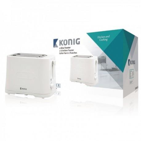 Tostadora para 2 rebanadas y 7 niveles de intensidad en color blanco König Cocina