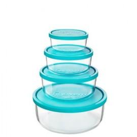 Envases redondos Frigoverre de vidrio y tapa azul