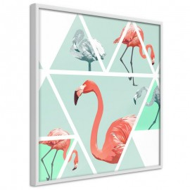 Póster - Tropical Mosaic with Flamingos (Square)