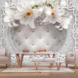 Fotomural - Lilies and Quilted Background