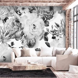 Fotomural autoadhesivo - Sentimental Garden (Black and White)