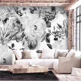 Papel de parede autocolante - Sentimental Garden (Black and White)