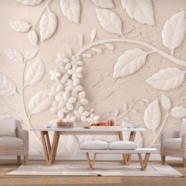 Papel de parede autocolante - Paper Flowers (Beige)