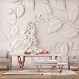 Papel de parede autocolante - Paper Flowers (Cream)