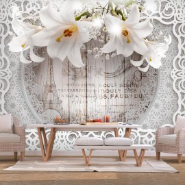 Papel de parede autocolante - Lilies and Wooden Background