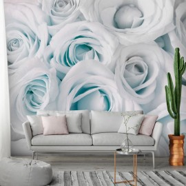 Papel de parede autocolante - Satin Rose (Turquoise)