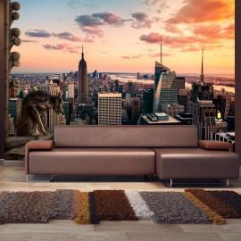 Fotomural autoadhesivo - Nueva York: rascacielos y puesta del sol
