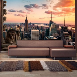 Papel de parede autocolante - New York: The skyscrapers and sunset