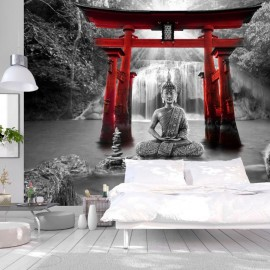 Papel de parede autocolante - Buddha Smile (Red)