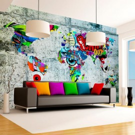 Papel de parede autocolante - Map - Graffiti
