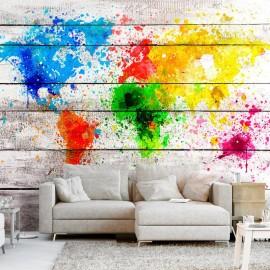 Papel de parede autocolante - World Map: Colourful Blot